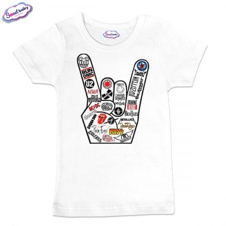 Детска тениска в бяло roock music
