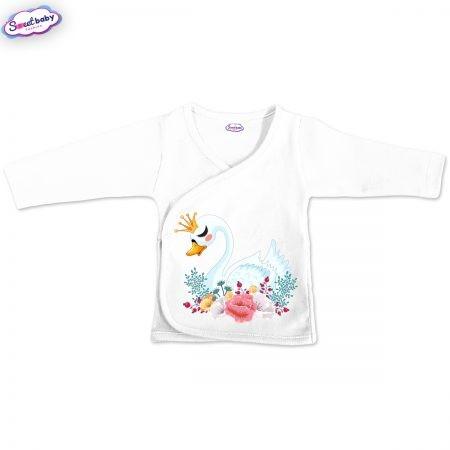 Бебешка камизолка в бяло Лебед