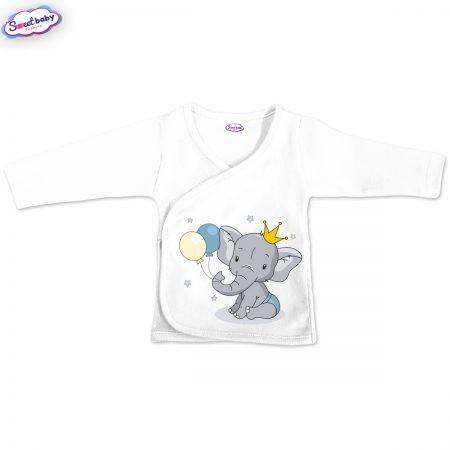 Бебешка камизолка в бяло Слонче с коронка