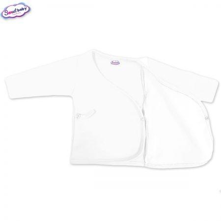 Бебешка камизолка в бяло разгъната