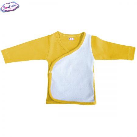 Бебешка камизолка в жълто и бяло