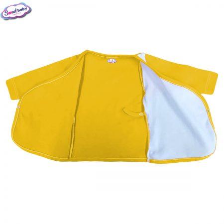 Бебешка камизолка жълто и бяло разгъната 1