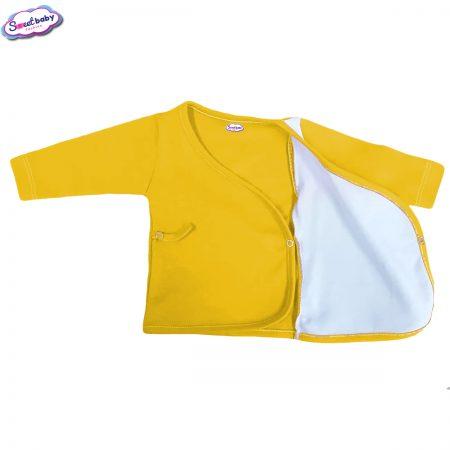Бебешка камизолка жълто и бяло разгъната