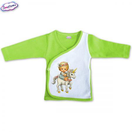 Бебешка камизолка зелено Детенце на еднорог