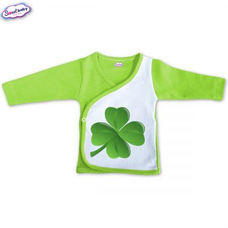 Бебешка камизолка зелено и бяло Детелинка