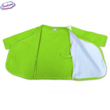 Бебешка камизолка зелено и бяло разгъната 1