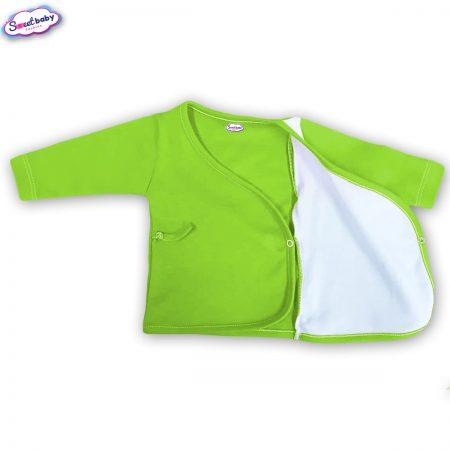 Бебешка камизолка зелено и бяло разгъната