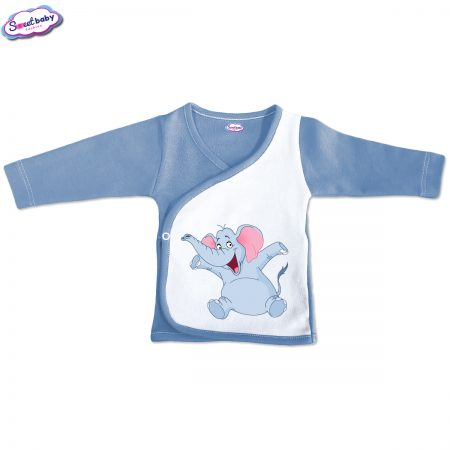 Бебешка камизолка синьо бяло Весело слонче