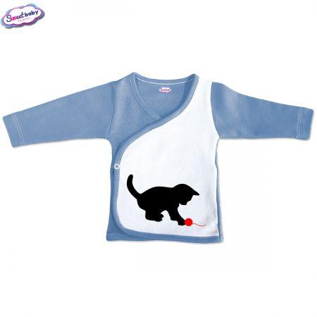Бебешка камизолка синьо бяло Коте и прежда