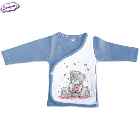 Бебешка камизолка синьо бяло Мече със сърчица