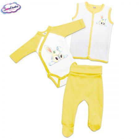 Бебешки жълт сет Бяло зайче
