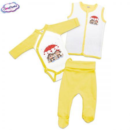 Бебешки жълт сет Влюбени маймунки