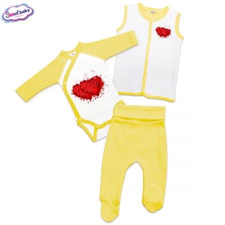 Бебешки жълт сет Две сърца