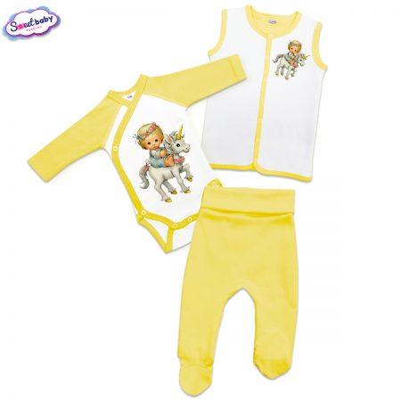Бебешки жълт сет Детенце на еднорог