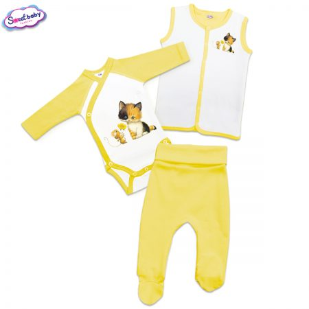 Бебешки жълт сет Коте с Мишле