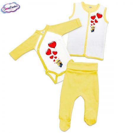 Бебешки жълт сет Миньон и сърца