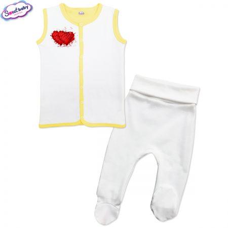 Бебешки сет бяло жълто Две сърца