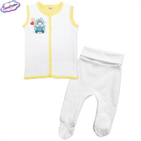 Бебешки сет бяло жълто Мечо шофьор