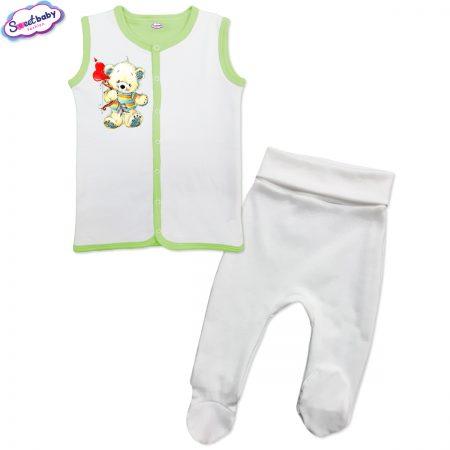 Бебешки сет бяло зелено Мечо Купидон