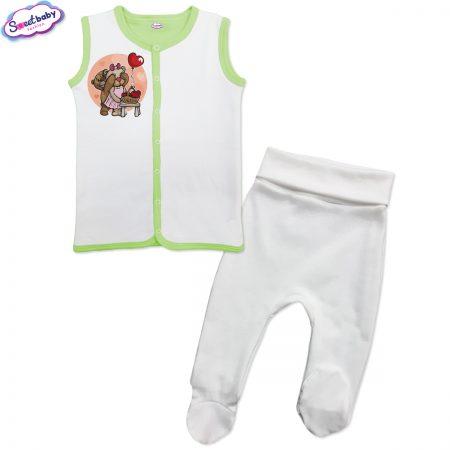 Бебешки сет бяло и зелено Меченца
