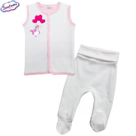 Бебешки сет бяло и розово Еднорогче