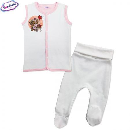 Бебешки сет бяло и розово Меченца
