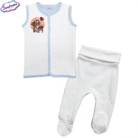 Бебешки сет бяло и синьо Меченца