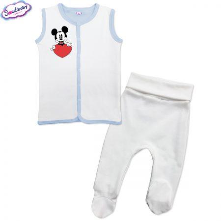 Бебешки сет бяло и синьо Lovemiki