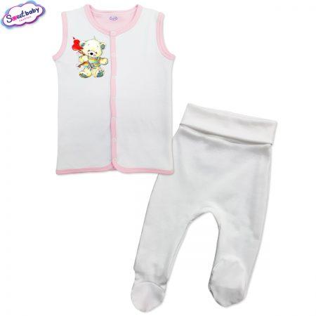 Бебешки сет бяло розово Мечо Купидон