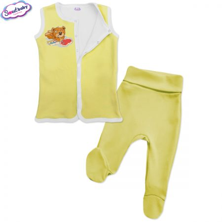 Бебешки сет жълт Мечо рисува сърце