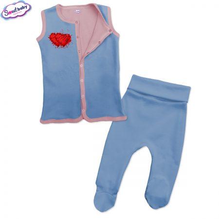 Бебешки сет синьо розово Две сърца