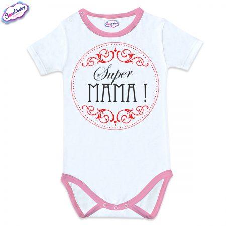 Бебешко боди с розов кант Supermama