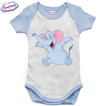 Бебешко боди US синьо Весело слонче