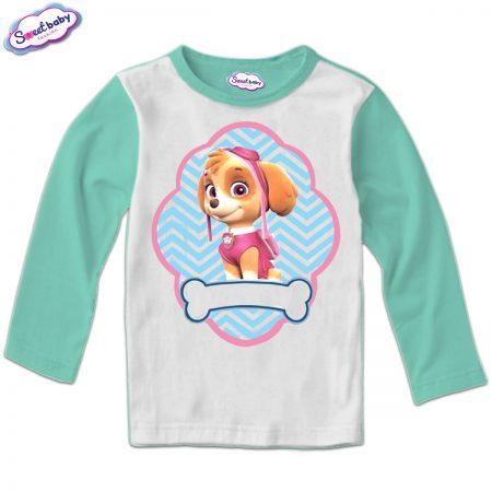 Детска блуза мента и бяло Скай