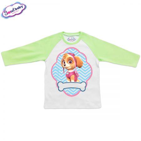 Детска блузка зелено и бяло Скай