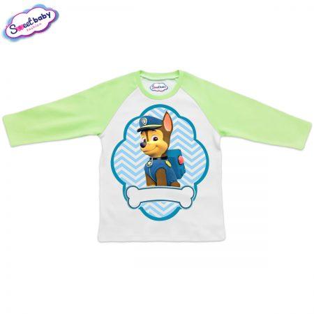 Детска блузка зелено и бяло Чейс