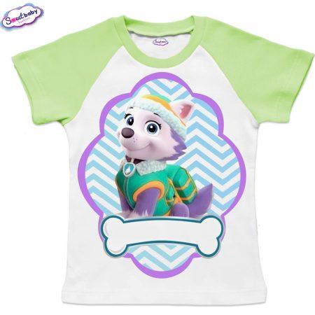 Детска тениска бяло и зелено Еверест