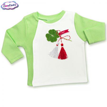 Бебешка жилетка зелено и бяло Късмет