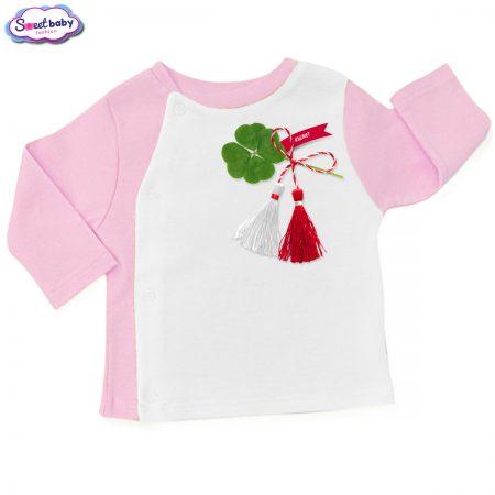 Бебешка жилетка розово и бяло Късмет