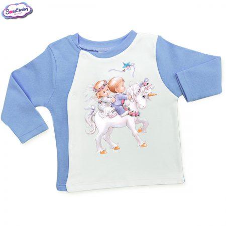 Бебешка жилетка синьо Деца на Еднорог