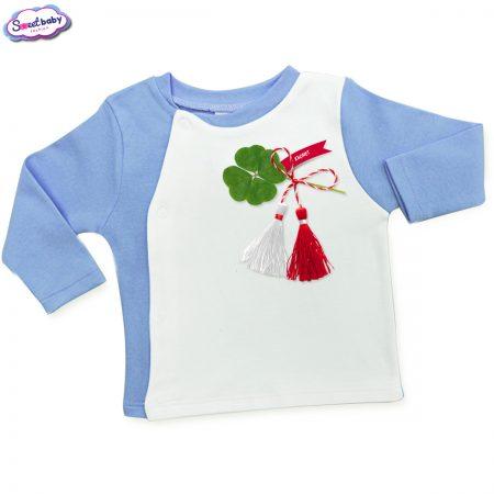 Бебешка жилетка синьо и бяло Късмет
