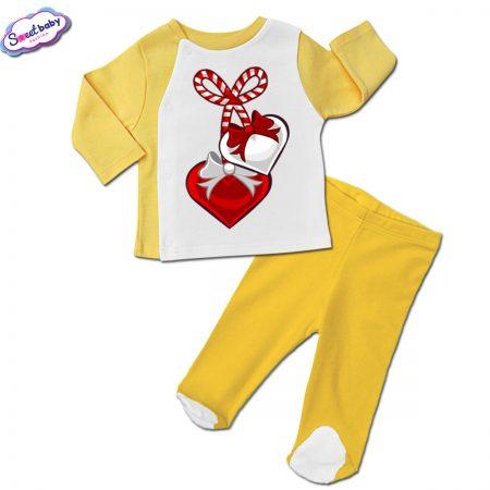 Бебешки сет жълто и бяло Мартеничка