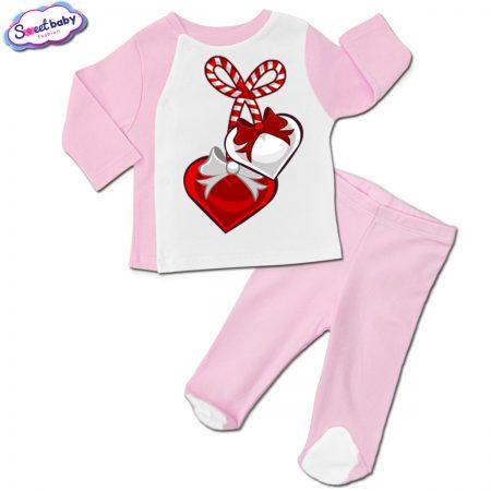 Бебешки сет розово и бяло Мартеничка