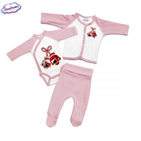 Бебешки сет розово и бяло Мартенички
