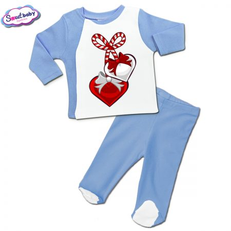 Бебешки сет синьо и бяло Мартеничка