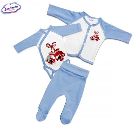Бебешки сет синьо и бяло Мартенички