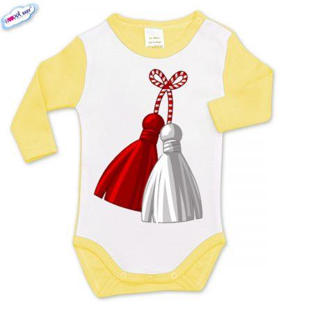 Бебешко боди жълто и бяло Мартеница