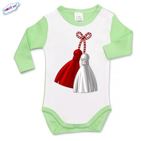 Бебешко боди зелено и бяло Мартеница