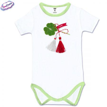 Бебешко боди зелен кант Късмет