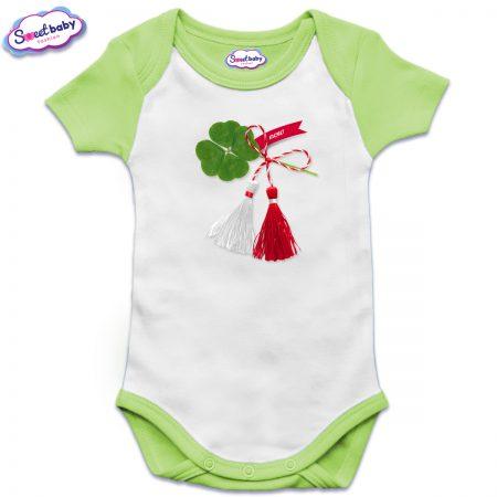 Бебешко боди US в зелено Късмет